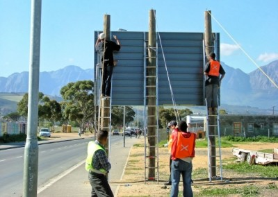Erection of Sign By Rope